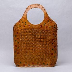 Hand tooled leather tote bag - vintage / boho